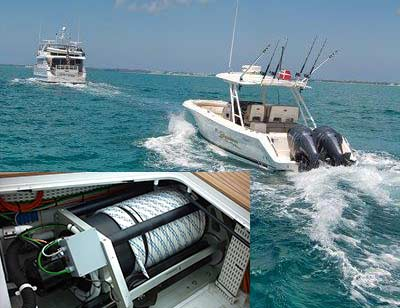 Self-Contained Single Point Yacht Tender Towing Rig